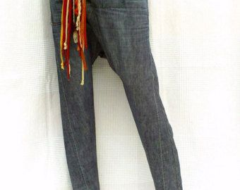 Unisex Harem pants with short crotch in patchwork of by DLFine