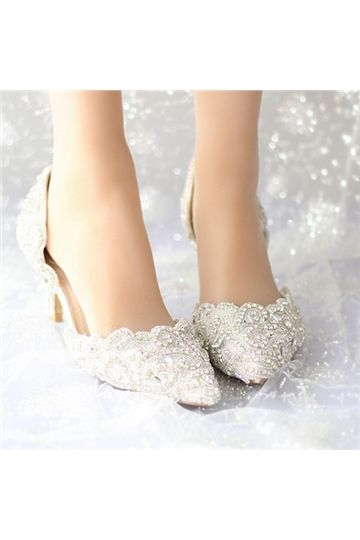 shoespie.com Offers High Quality Shoespie Lace Rhinestone Low Heel Bridal Shoes,Priced At Only US$100.59