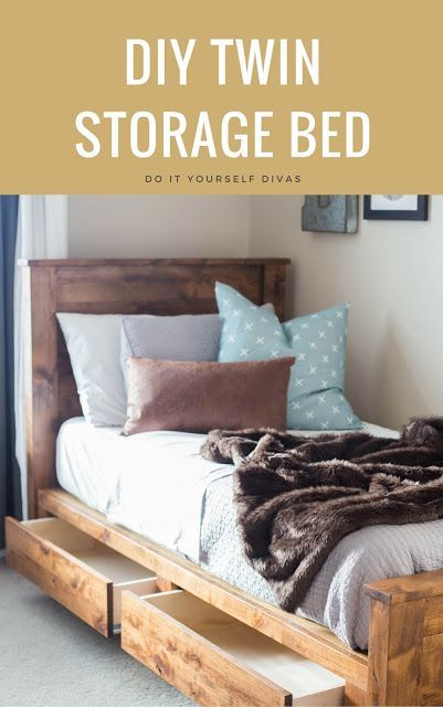 do it yourself divas: DIY Twin Storage Bedframe. PDF plans to build a bed with drawers.