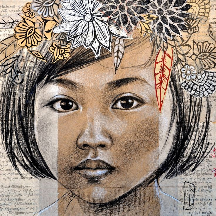 The floral wreath Myanmar by StephanieLedouxArt on Etsy