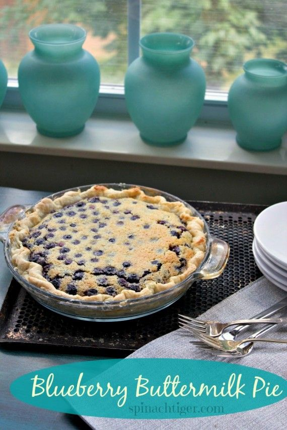 Blueberry Buttermilk Pie from @spinachtiger #buttermilk, #southern desserts