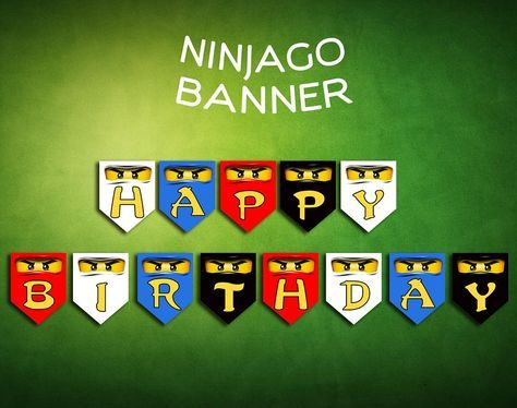 Ninjago Lego Banner Birthday Party Digital Printable | CelebrationShoppy - Digital Art on ArtFire