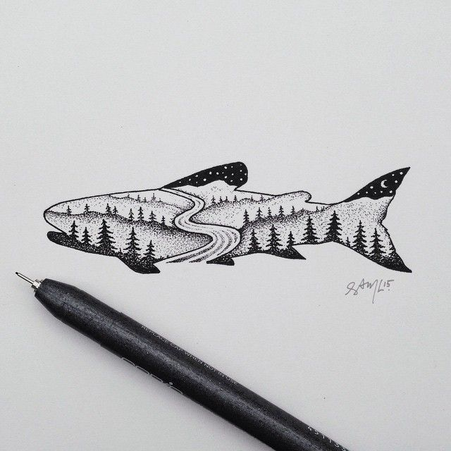 Brook Trout commission for @shockacahn  #trout #illustration #art by samlarson