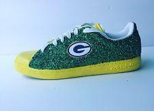 Womens Green Bay Packers Green Yellow Glitter Custom Tennis Shoes JCo.Customs