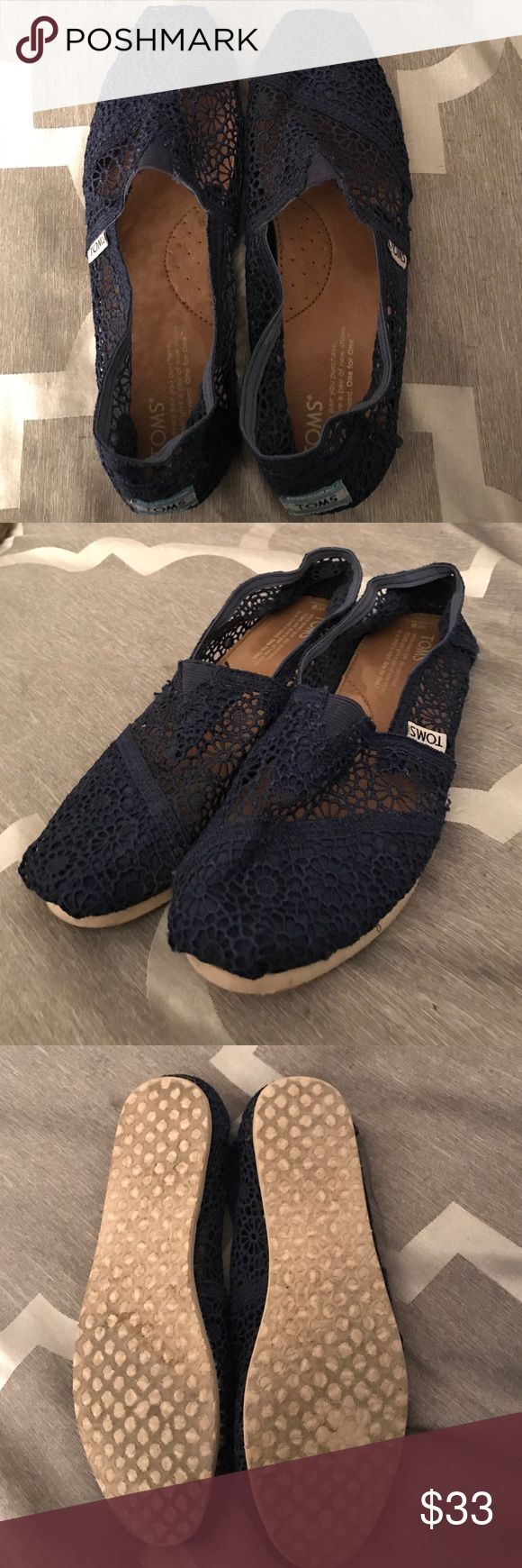 Navy Blue Lace Tom's Excellent condition pre-owned navy blue lace TOMs. Some wear on soles, very minor wear to interior sole. Great condition, lots of life left! TOMS Shoes Espadrilles