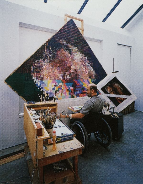 Cave to Canvas, Chuck Close in his studio working on the painting...