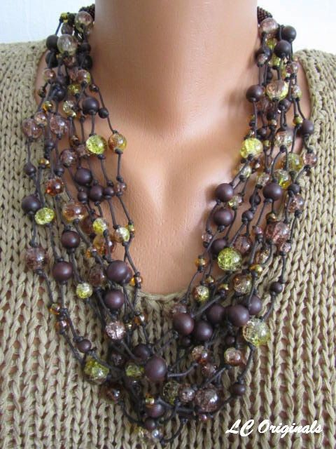 DARK CHOCOLATE and GOLDEN yellow nine strands knotted necklace