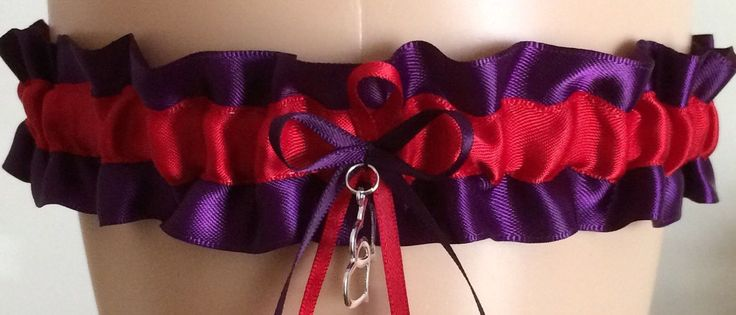 Plum Purple and Red Wedding Garter, Prom Garter