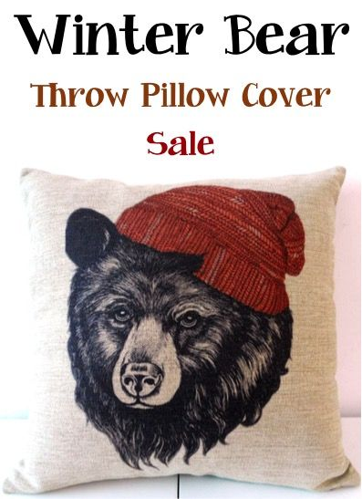 Bear Throw Pillow Covers : This Winter Bear Throw Pillow Cover is such a fun way to transform your pillows on a budget! Don ...