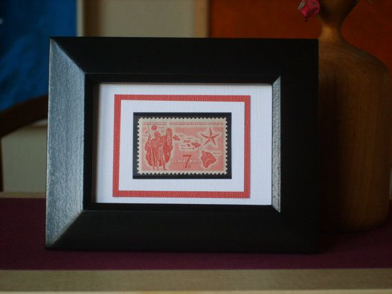 Hawaii Statehood  Vintage Framed Stamp by RedBeansnRice on Etsy, $12.50