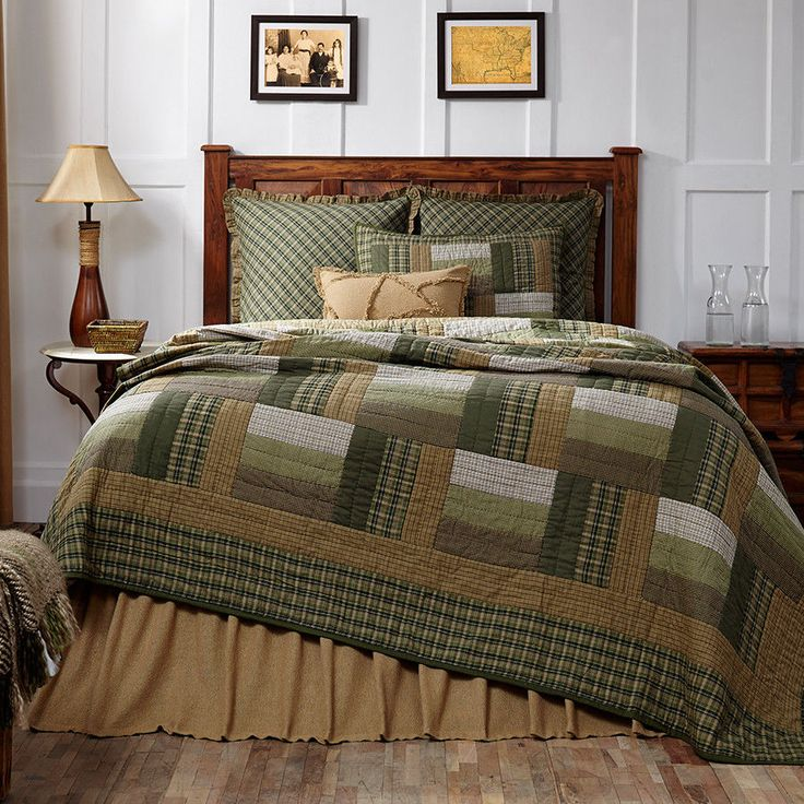 New Country Rustic LOG CABIN QUILT Olive Green Tan Brown Queen Bedspread