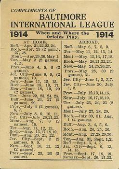 1914 Baltimore News Orioles #NNOb Albert Davidson Back