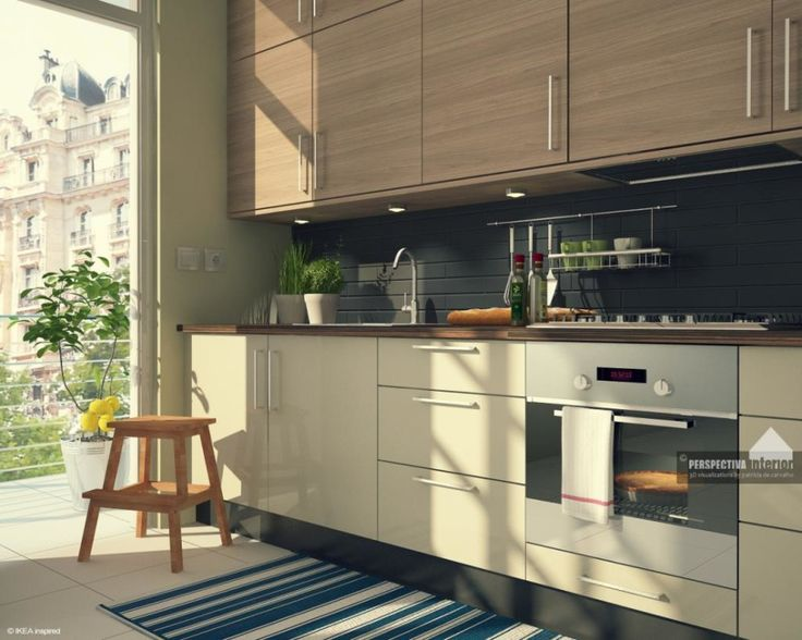 Kitchen, Kitchen Appliances Stunning White Cabinet With Wood Countertop Under Light Cabinet Design Fascinating Apartment IKEA Small Kitchen ...