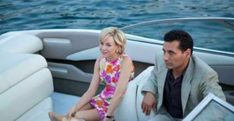 Close scene from Diana with Naomi Watts and Cas Anvar in small boat.