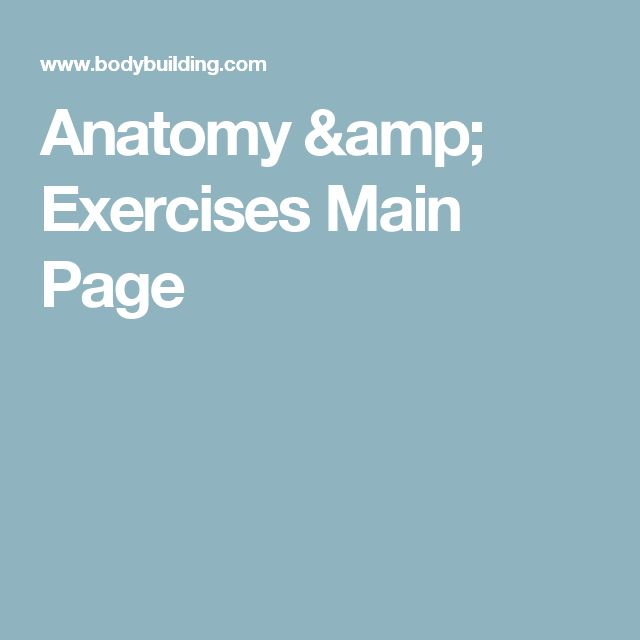 Anatomy & Exercises Main Page
