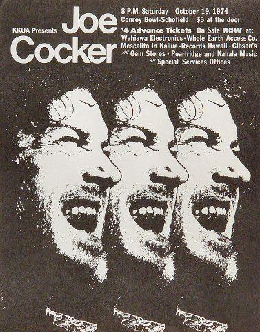 Joe Cocker Handbill - Vintage concert & live performance BG handbills from the Fillmore, Fillmore East, Winterland and Avalon Ballroom.