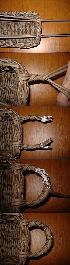 Fül készítése                                                 Плетение ручки для корзины