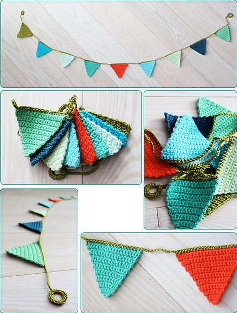 crochet bunting / horgolt zászlófüzér.  I need someone to make this for me.