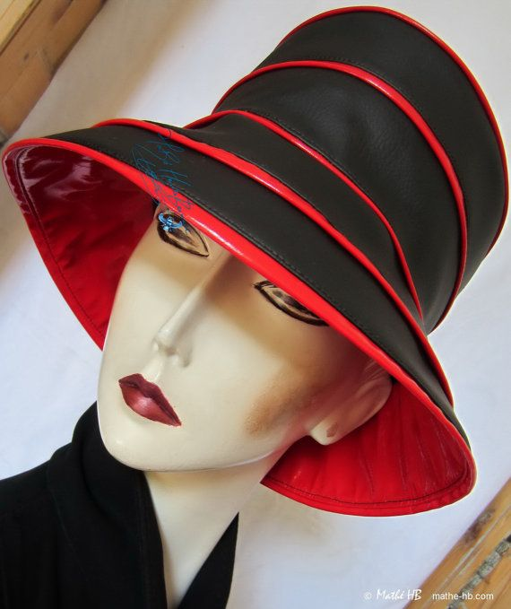 rain hat to order black ebony and red cherry by MatheHBcouture