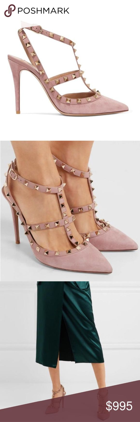 """Dusty pink Valentino Rockstud suede pumps heels Brand new 100% authentic.  Comes with shoebox, dust bag. Extra studs and top lift.  True to size. Italian size 38= size 8  Heel height: 4"""".  Made in Italy.  Will provide a copy of receipt upon request.   NO TRADE.  PRICE FIRM. Serious buyers only.  *Order of $500 and above will go through Poshmark authentication before the item is shipped to you* Valentino Shoes Heels"""