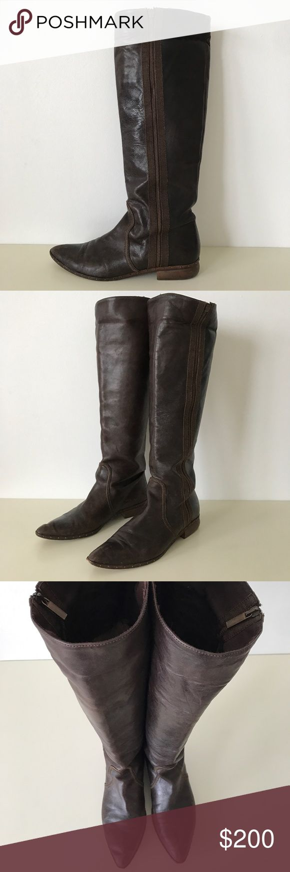 """Just Cavalli Leather Distressed Boots SZ 38.5 Brown leather intentionally distressed boots with zippers on the outside. Zippers open about 1/4 of the way from the top. 1"""" stacked heel. 17"""" shaft. All leather outsole adorned with small nail heads. Inside is lined with """"Just Cavalli"""" fabric  1/4 through the top, the rest is leather. Could be worn folded over at the top or tall. Made in Italy. Size 38.5. Light scuffing on the inside of the right boot but barely noticeable due to distressed…"""