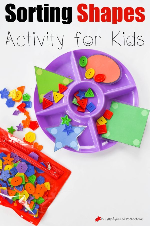 Sorting Shapes Activity for Kids to learn basic math skills like sorting, shape identification, counting, as well as being a fun activity to practice colors and improve visual discrimination
