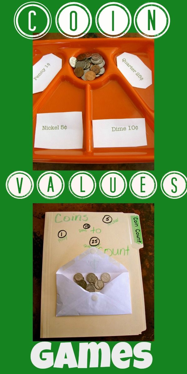 Easy to make Coin Values Games, for teaching kids about money.
