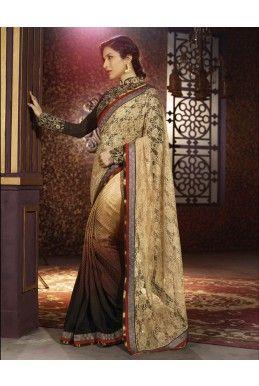 #Brown And #Gold Satin Jacquard #Saree - #deepkalasilk