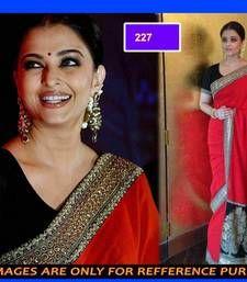 Buy red color hread & zari work chiffon fabric bollywood saree with blouse piece aishwarya-rai-saree online