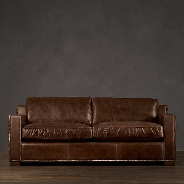 distressed leather couch from restoration hardwareone of my husbands loves