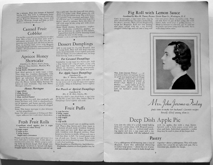 1930's Recipes for Bisquick Deep Dish Apple Pie, Pastry Dough, Fruit Cobbler (with Fresh or Canned Fruit), Pumpkin Oatmeal Dessert, Cherry Crunch Dessert, and Dessert Dumplings.