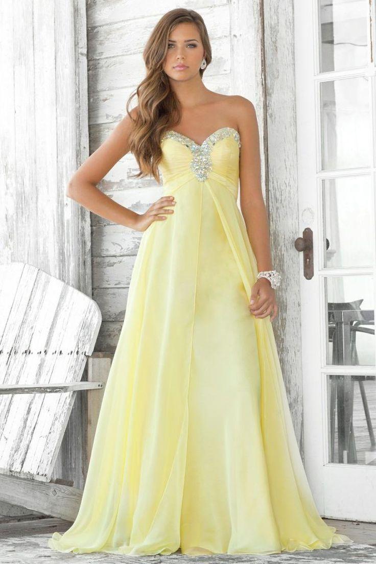 robe bal de promo jaune pastel à bustier coeur argenté