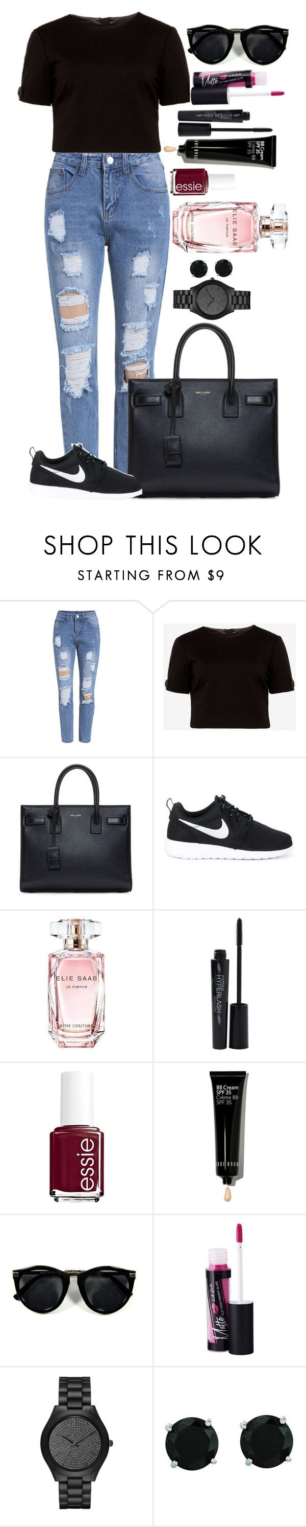 """Untitled #1419"" by fabianarveloc on Polyvore featuring Ted Baker, Yves Saint Laurent, NIKE, Elie Saab, Smashbox, Essie, Bobbi Brown Cosmetics, Fiebiger, Michael Kors and BillyTheTree"