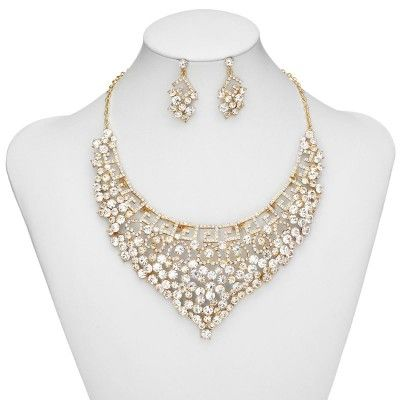 White and Gold Wedding Statement Necklace. Rhinestone prom jewelry set, Necklace earring set