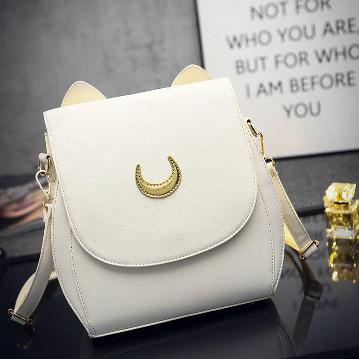 $27.70 (Buy here: https://alitems.com/g/1e8d114494ebda23ff8b16525dc3e8/?i=5&ulp=https%3A%2F%2Fwww.aliexpress.com%2Fitem%2F2016-women-leather-backpack-Women-shoulder-bag-Fashion-Crescent-moon-cat-ear-backpacks-School-Bags-for%2F32721959507.html ) 2016 women Top quality Leather Shoulder bag Fashion Crescent moon cat ear knapsack School Bags girl's cat bag for just $27.70