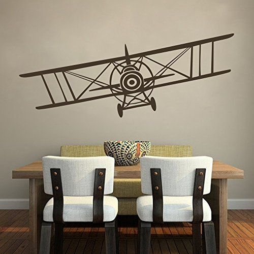 Vinyl Airplane Wall Decal Biplane Wall Sticker Airplane Wall Art Decor Nursery Wall Grahpic Wall Mural Boy Room Wall Decoration Dark Brown