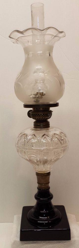 Antique Kerosene Glass Table Lamp & Shade