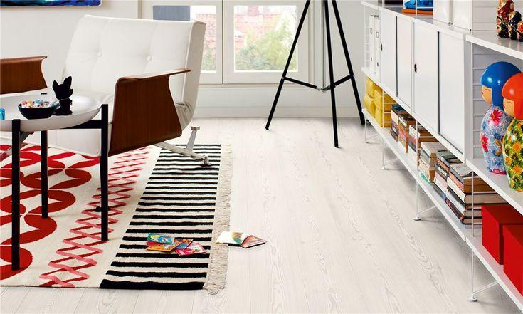 Hvit furu, plank. Laminat gulv fra Pergo