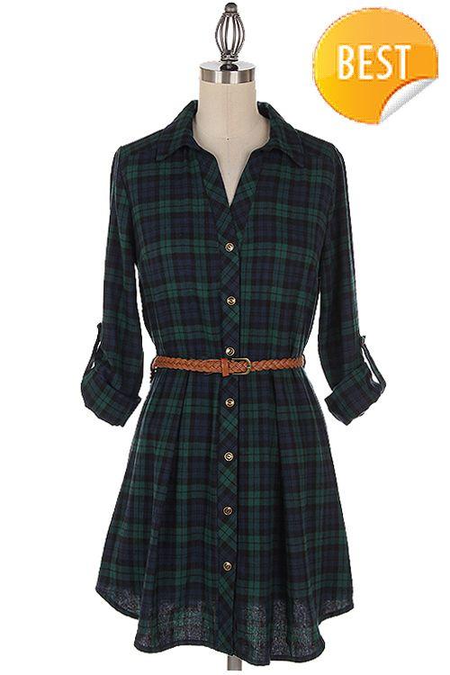 Gingham print plaid shirt dress. Belt included. Fall essential dress. Dress. Plaid. Gingham.