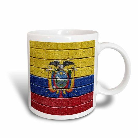 3dRose National flag of Ecuador painted onto a brick wall Ecuadorian, Ceramic Mug, 11-ounce
