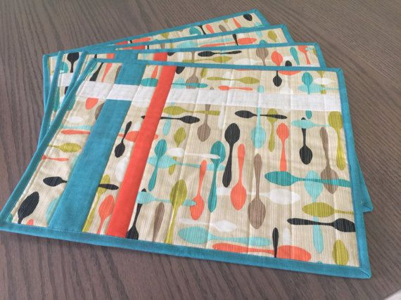 Modern Quilted Teal Orange Brown Placemats Set by countrysewing4U