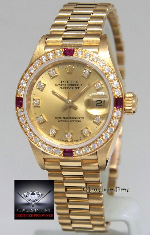 ff3c8d22cac Rolex Datejust President 18k Yellow Gold Diamond   Ruby Ladies Watch 69178   rolex  ladieswatches  watchesforwomen