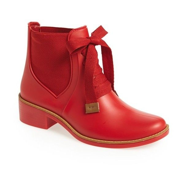 "Bernardo Footwear 'Lacey' Short Waterproof Rain Boot, 1 1/2"" heel (€130) ❤ liked on Polyvore featuring shoes, boots, ankle booties, lullabies, red, ankle boots, waterproof boots, short ankle boots, wellies boots and red boots"