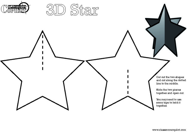 5 Best Images of 3D Star Printable Template - 3D Christmas Star ...