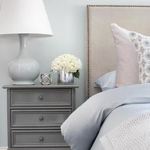 Blue Bedroom with Gray Nightstand, Transitional, Bedroom