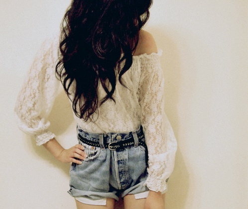 Lace Tops, Style, Denim Fashion, Outfit, Inspiration Pictures, Lace Shirts, Jeans Shorts, Denim Shorts, High Waist Shorts
