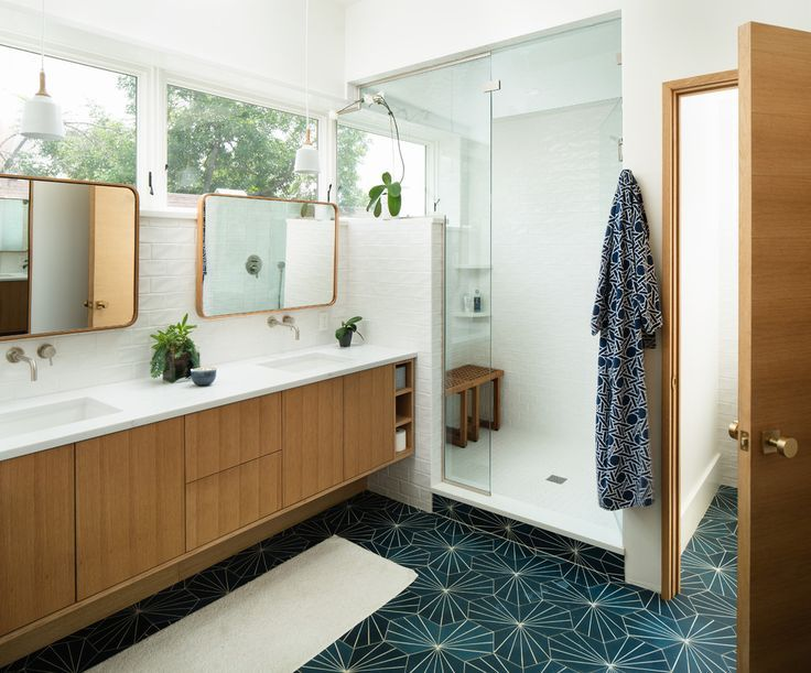 Mid Century Boho Farmhouse On Instagram Killed It With This Reno This Transforma Modern Bathroom Tile Mid Century Modern Bathroom Modern Bathroom Design