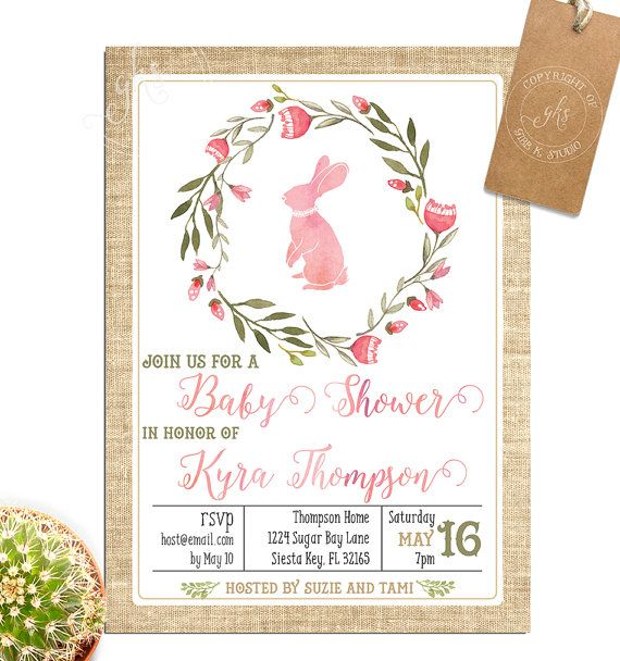 Pink Bunny Baby Shower Invitation Twins Or Single Watercolor Tk A051 Products Pinterest Invitations And