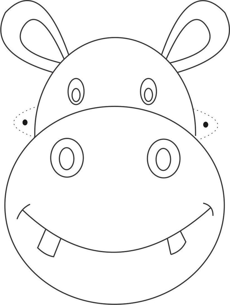 free printable animal masks templates | Hippo Mask printable coloring page for…