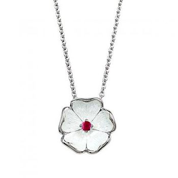 Nicole Barr Silver and Ruby White Rose Pendant